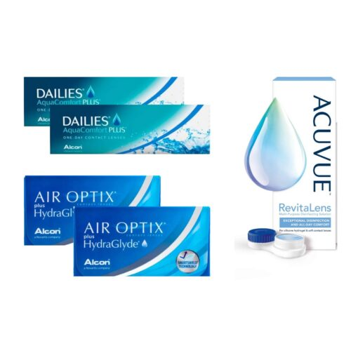 air optix plus hydraglyde + dailies aqua comfort
