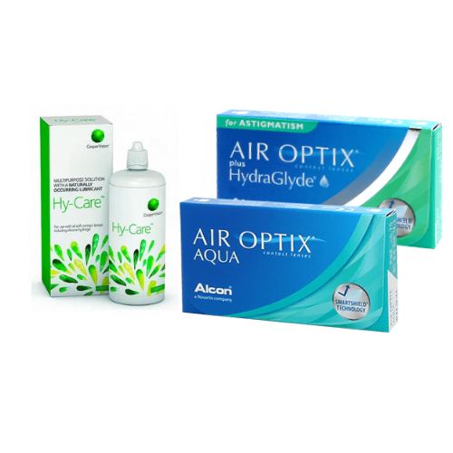 air optix aqua + air optix hydraglyde for astigmatism